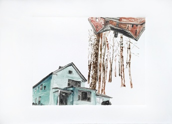 Teal House, Rust House, Snowscape